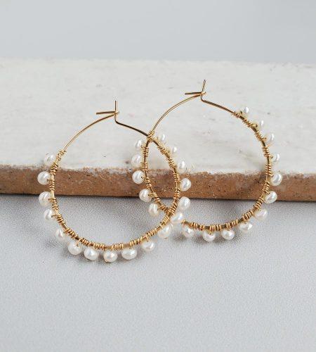 Freshwater pearl wrapped hoop earrings handmade by Carrie Whelan Designs