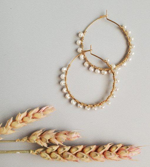 Gold filled Freshwater pearl hoop earrings handcrafted by Carrie Whelan Designs