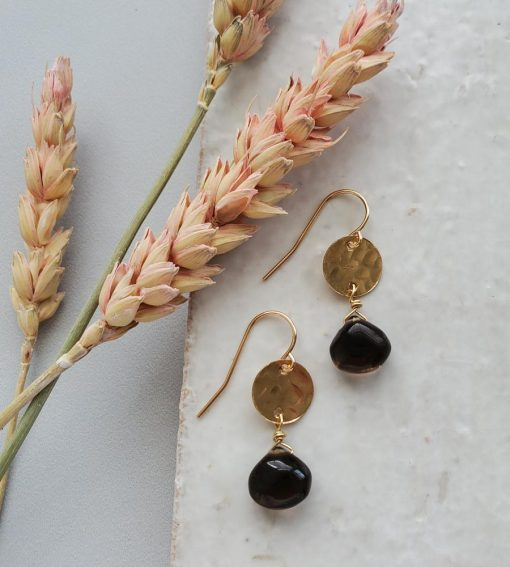 Hammered gold disc smoky quartz drop earrings handcrafted by Carrie Whelan Designs