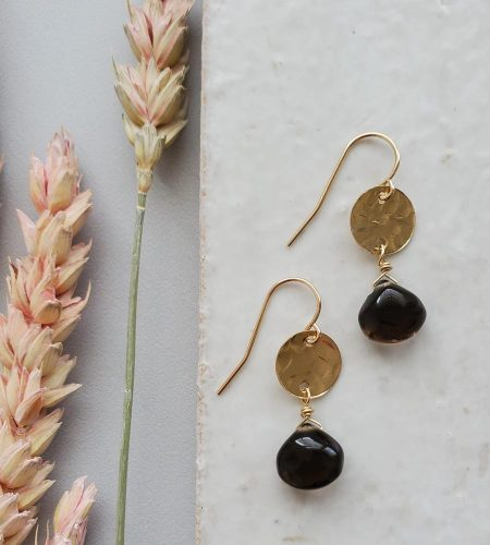 Hammered gold smoky quartz earrings handcrafted by Carrie Whelan Designs