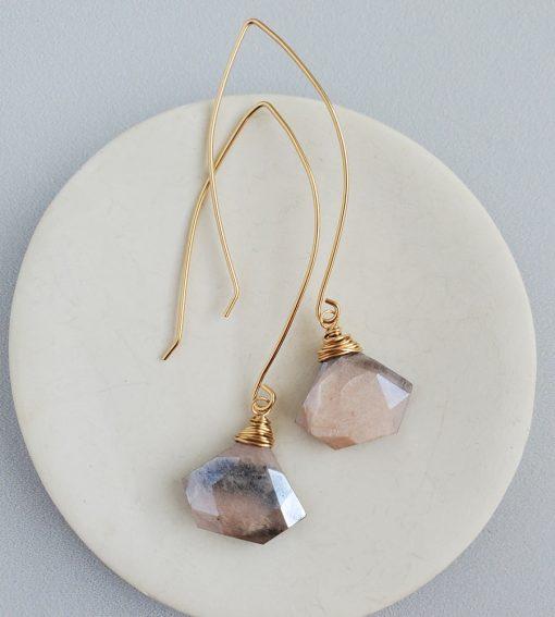 Handmade peach moonstone dangle earrings in gold by Carrie Whelan Designs