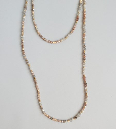 Long beaded moonstone necklace strand handcrafted by Carrie Whelan Designs