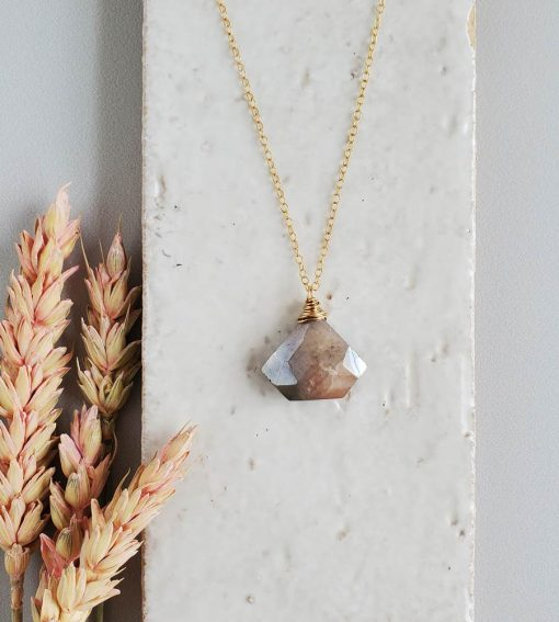 peach moonstone 14kt gold fill pendant handcrafted by Carrie Whelan Designs
