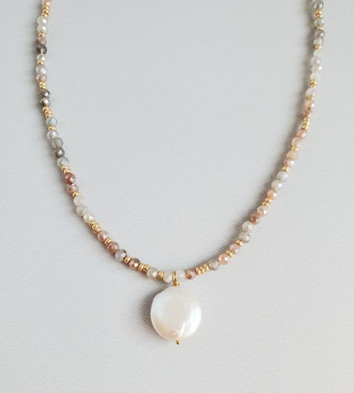 Moonstone and coin pearl gold necklace handcrafted by Carrie Whelan Designs
