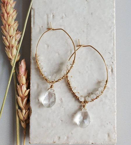 Moonstone and gold filled hoop earrings handcrafted by Carrie Whelan Designs