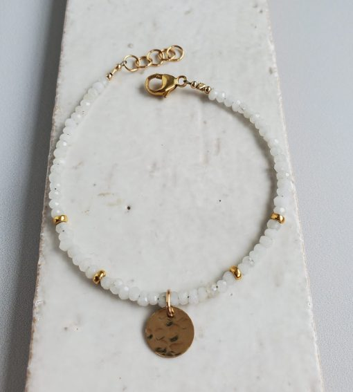 Moonstone and textured gold disc bracelet handmade by Carrie Whelan Designs
