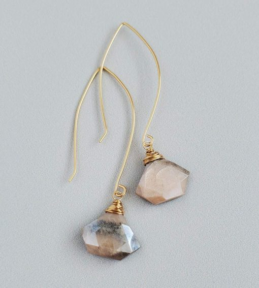 peach moonstone and 14kt gold fill earrings handmade by Carrie Whelan Designs