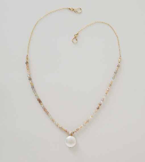 Peach moonstone and coin pearl necklace handcrafted by Carrie Whelan Designs