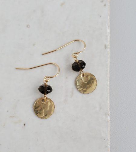 smoky quartz disc earrings in 14kt gold fill handmade by Carrie Whelan Designs