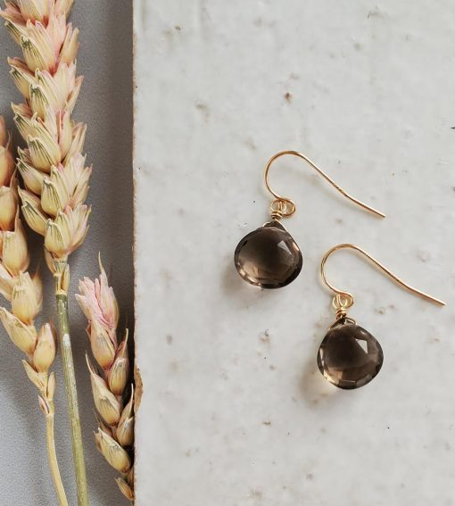 Smoky quartz drop earrings in 14kt gold fill handcrafted by Carrie Whelan Designs