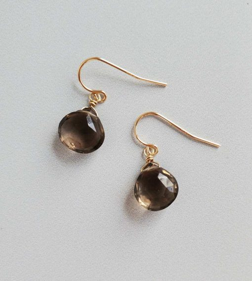 Smoky quartz drop gold earrings handcrafted by Carrie Whelan Designs