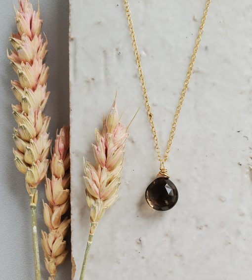 Smoky quartz drop pendant in 14kt gold fill handcrafted by Carrie Whelan Designs