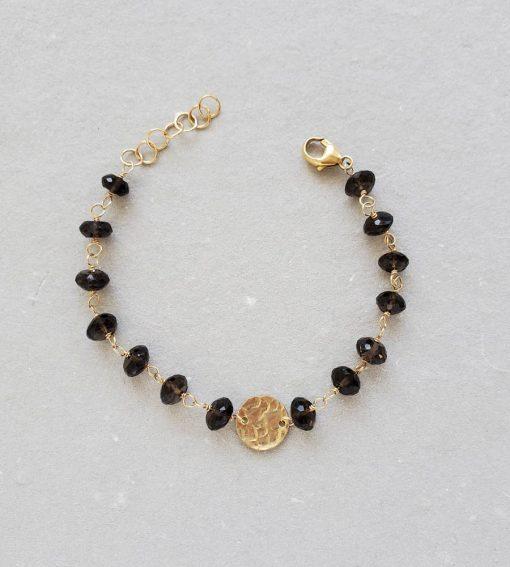 Smoky quartz chain and disc bracelet handmade by Carrie Whelan Designs