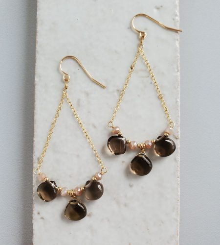 Smoky quartz gold swing earrings handcrafted by Carrie Whelan Designs