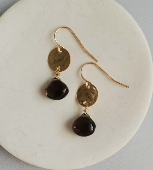 Smoky quartz hammered gold disc earrings handcrafted by Carrie Whelan Designs